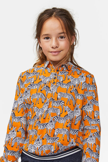 Chemisier à motif zèbre fille Orange