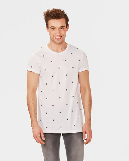 T-SHIRT EXTRA LONG FIT PRINT HOMME Blanc