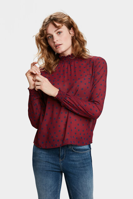 TOP DOT SEMI-TRANSPARENT FEMME Bordeaux