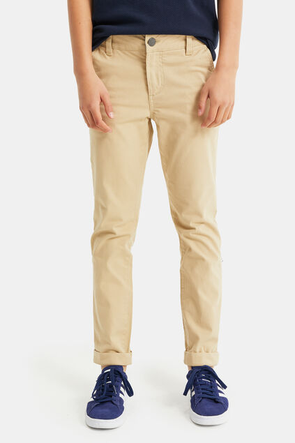 Chino slim fit à structure garçon Beige
