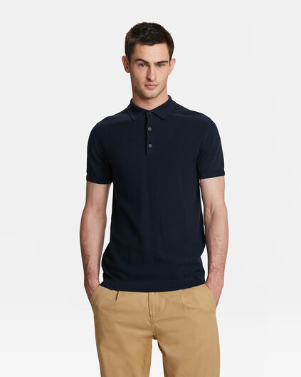 POLO KNITTED HOMME Bleu marine