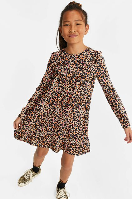 Robe à motif léopard et volants fille Multicolore