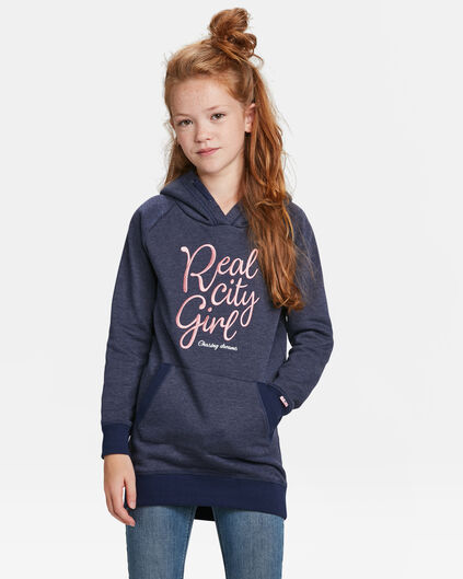 ROBE-SWEAT HOODED FILLE Bleu foncé