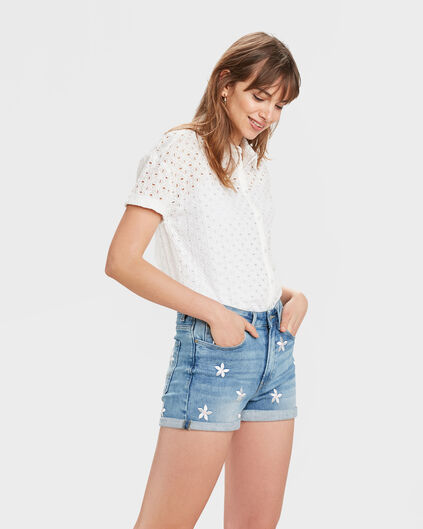 CHEMISIER BOXY FIT BRODERY FEMME Blanc