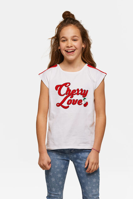 T-shirt Cherry Love fille Blanc