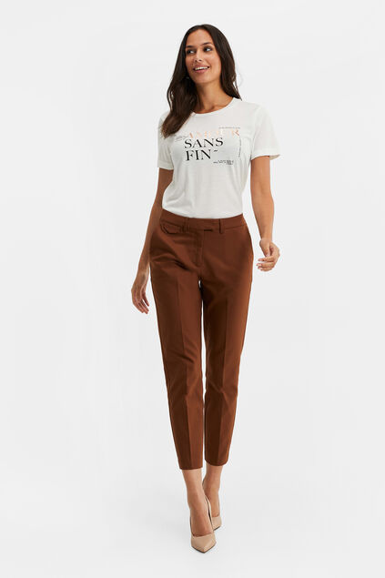 Chino slim fit femme Brun Cannelle