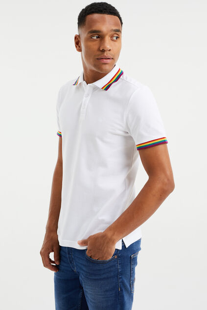 Polo slim fit homme Blanc