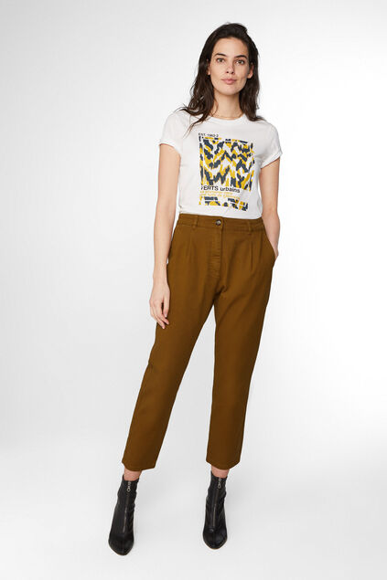 Pantalon high waist et tapered leg femme Jaune moutarde