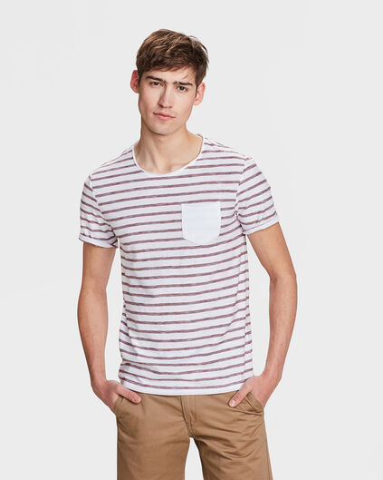 T-SHIRT SLIM FIT R-NECK STRIPE HOMME Bordeaux