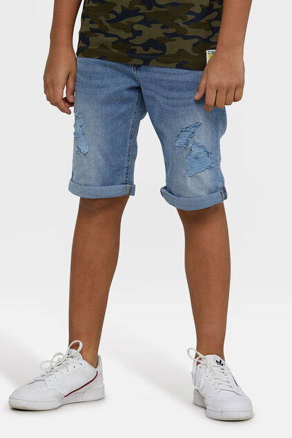 Short denim loose fit garçon Bleu eclair