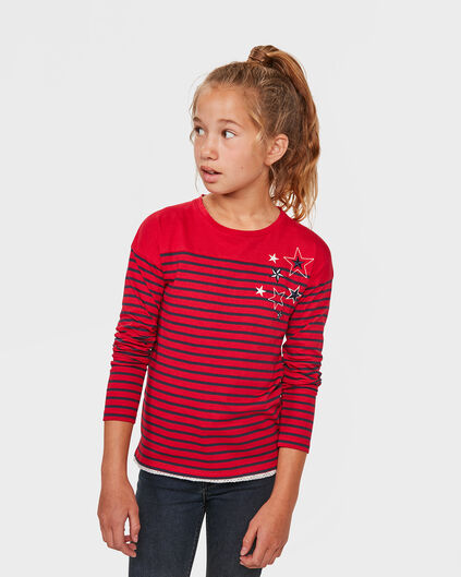 SHIRT RAYÉ FILLE Rouge