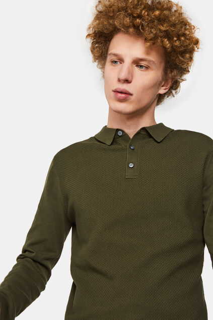 Pull polo de fin jersey structuré homme Vert armee