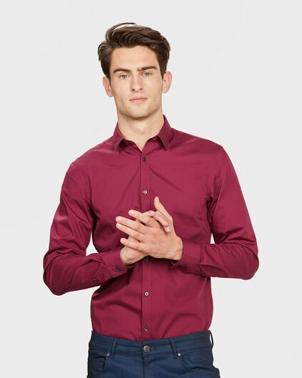 CHEMISE SLIM FIT STRETCH HOMME Rouge eclair
