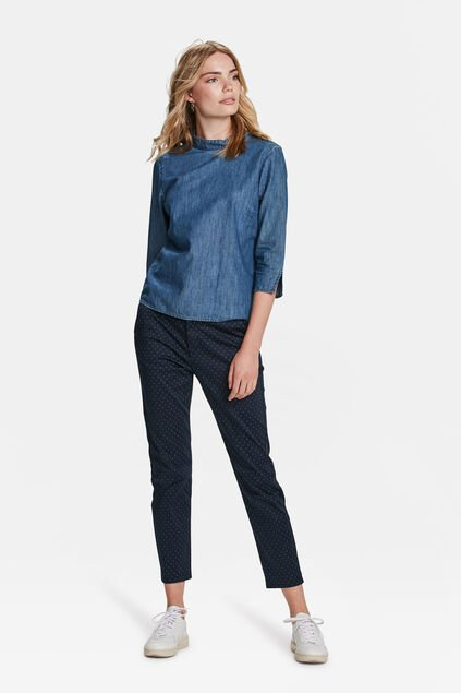 CHINO MOTIF GRAPHIQUE SLIM FIT CROPPED FEMME Bleu marine