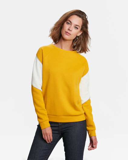 SWEAT-SHIRT COLOUR BLOCK FEMME Jaune moutarde