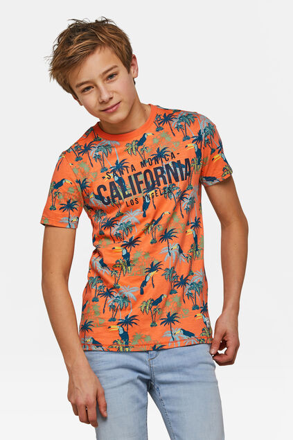 T-shirt California print garçon Orange