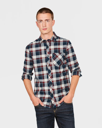 CHEMISE RELAXED FIT FLANEL CHECK HOMME Bordeaux