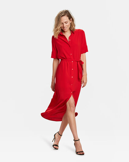 ROBE BUTTON DOWN FEMME Rouge vif