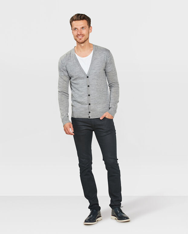 GILET COL V MERINO WOOL HOMME Gris clair