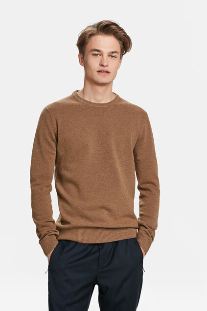PULL LAMBSWOOL HOMME Brun Cannelle