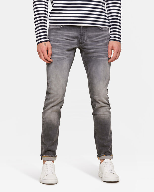 Jeans slim tapered comfort stretch homme Gris