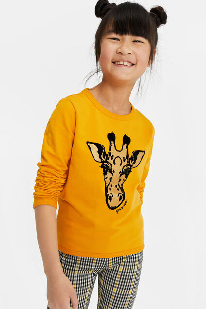 Sweat-shirt avec broderie fille Jaune