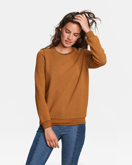 SWEAT-SHIRT JACQUARD FEMME Or