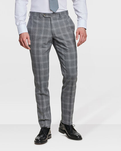 PANTALON SLIM FIT CHECKED CAMDEN HOMME Gris clair