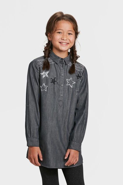 ROBE CHAMBRAY STARS FILLE Gris