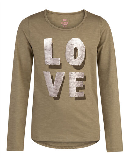 T-SHIRT LOVE FLIP SEQUINS FILLE Vert armee