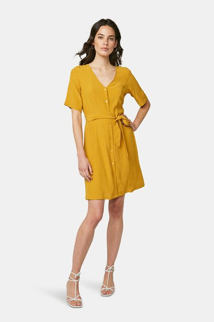Robe à boutons femme Jaune moutarde