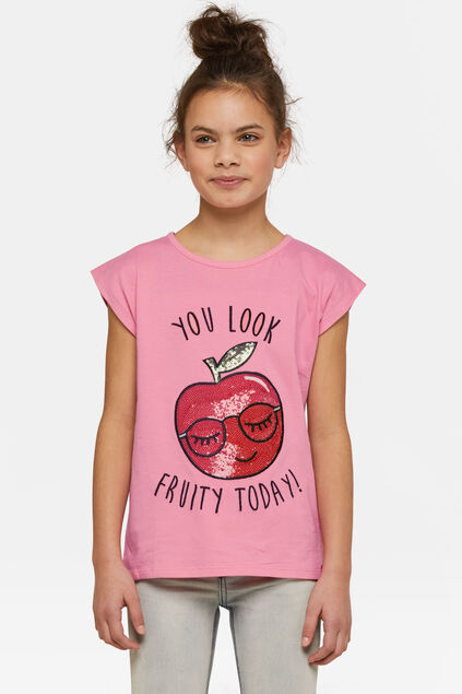 T-shirt à paillettes fruity fille Rose