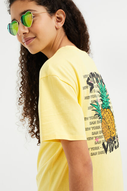 T-shirt boyfriend à application fille Jaune clair