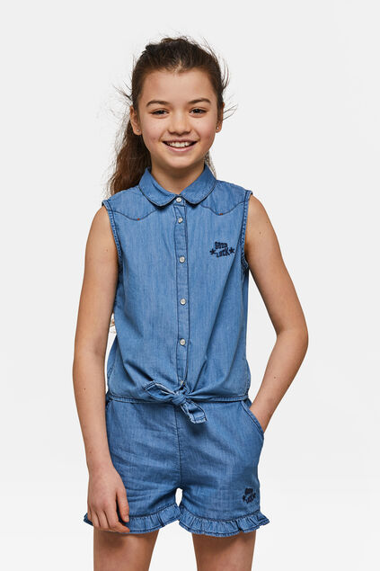 Top denim fille Bleu