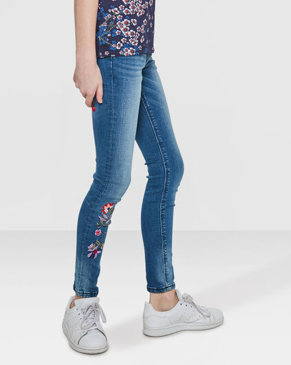 JEANS SUPER SKINNY SUPER STRETCH EMBROIDERY FILLE Bleu