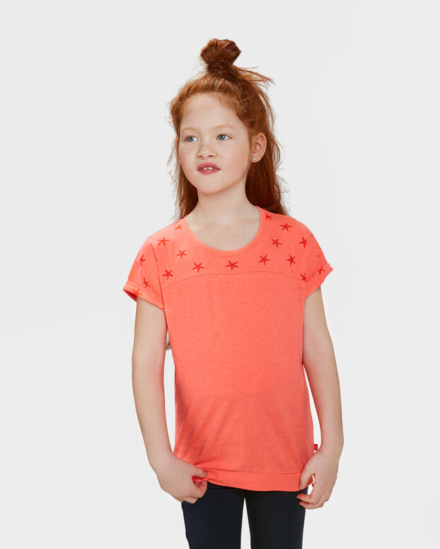 T-SHIRT STAR PRINT FILLE Rose corail