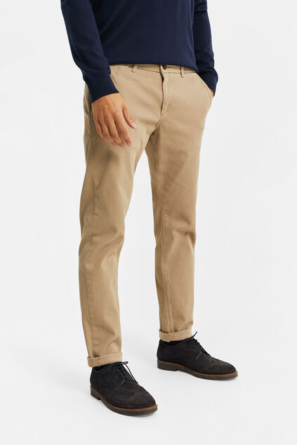 Chino slim tapered à structure côtelée homme Beige