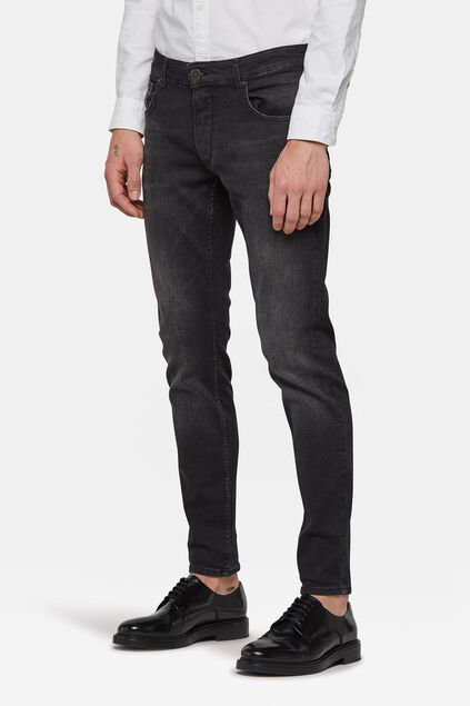 Jeans skinny fit tapered homme Noir