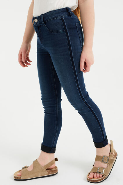 Jeggings super skinny à galon de velours fille Bleu foncé