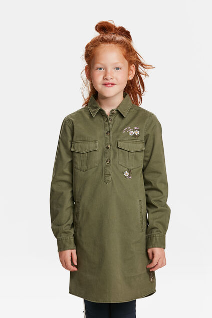 ROBE CHEMISE PATCH TIGRE FILLE Vert armee