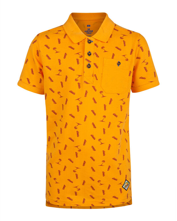 POLO PIQUE PRINT GARÇON Orange
