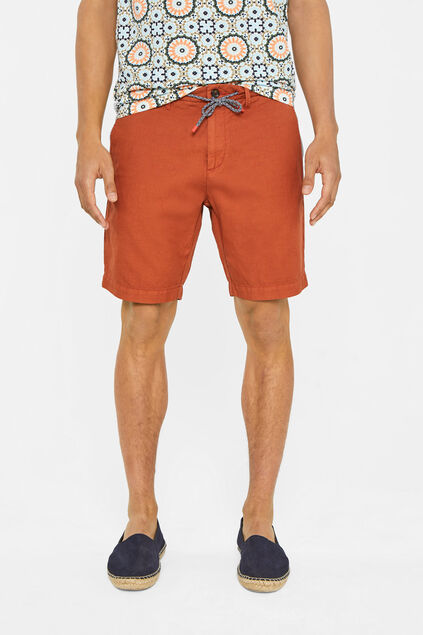 Short chino regular fit de mélange de lin homme Brun rouille