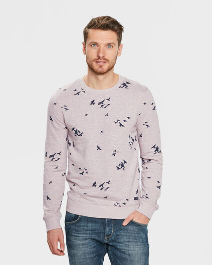 SWEAT-SHIRT MELANGE BIRD PRINT HOMME Rose