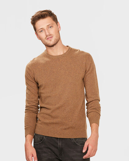 PULL R-NECK LAMBSWOOL BLEND HOMME Brun rouille