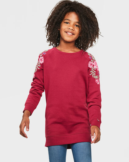 ROBE FLOWER SWEAT FILLE Rouge