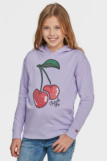 SWEAT-SHIRT CHERRY HOODED FILLE Lilas
