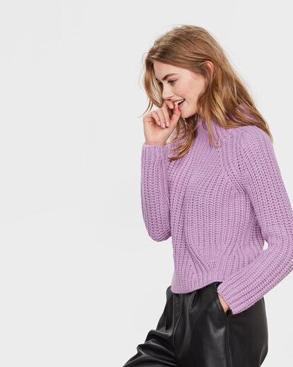 PULL CROPPED COL FEMME Lilas