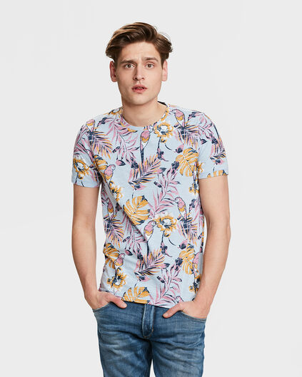 T-SHIRT TROPICAL PRINT HOMME Bleu
