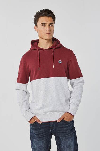 Sweat-shirt à capuchon bloc de couleur homme Bordeaux
