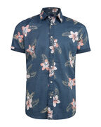 CHEMISE RELAXED FIT FLOWER PRINT HOMME_CHEMISE RELAXED FIT FLOWER PRINT HOMME, Bleu marine